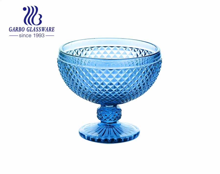 Blue Color Stemware Glass Ice Cream Bowl Glass dessert cup 10 ounces