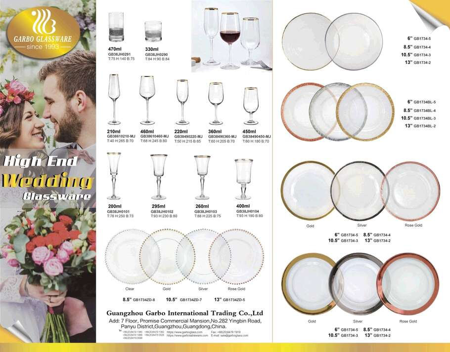 Garbo Weekly Promotions: Wedding Glass Cups and Charger Plates