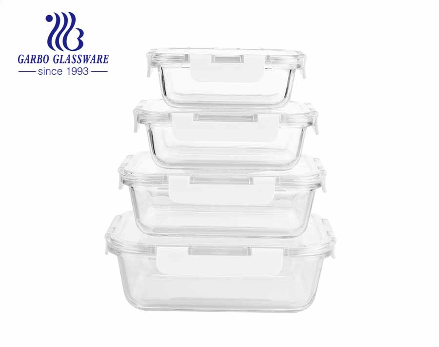 Set of 4PCS Airtight Glass Lunch Boxes Food Containers with leak proof lids