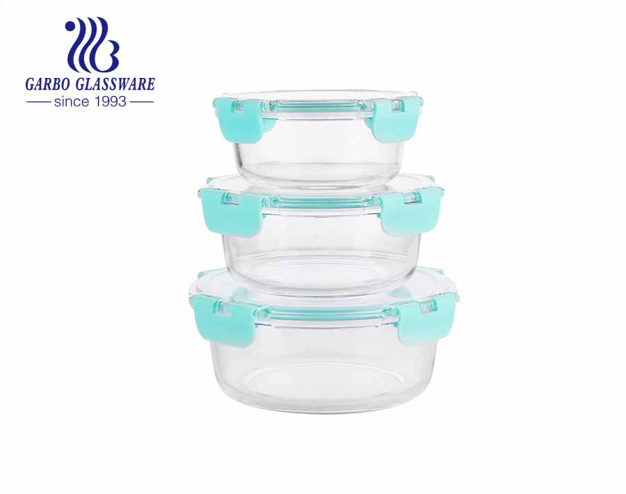 SET OF 3PCS Round Glass Food Lunch Boxes for Microwave, Oven, Freezer, Dishwasher