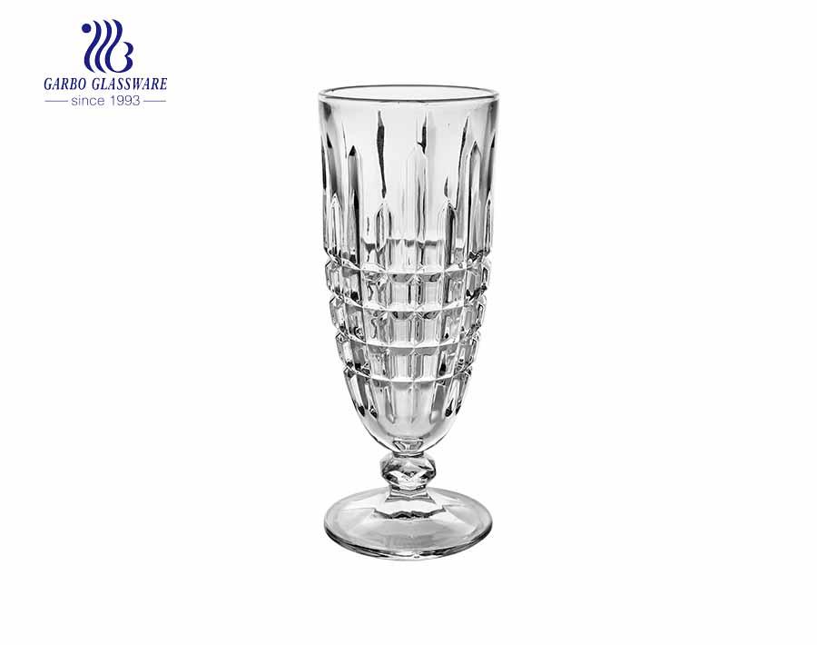 Cuenco de helado de vidrio sin plomo 9 oz Patrón único grabado Copa de postre Copas de cóctel