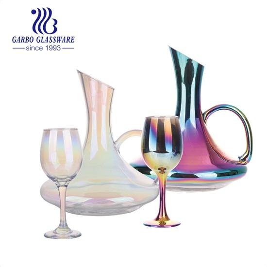 新しいデザインのガラス製品セット:イオンプレーティングカラフルなガラスワインデカンターセット