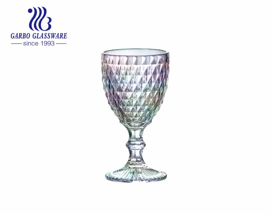 300ml big diamond design glass goblets for wine and juice drinking for restaurant using