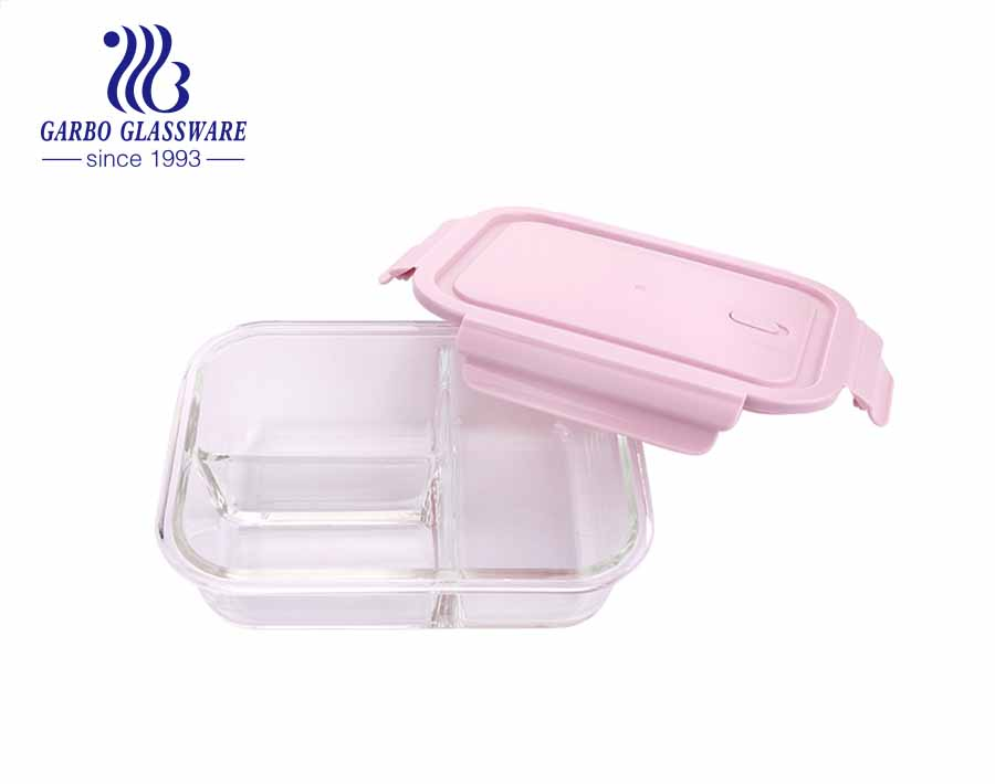Pyrex 1L Glass rectangular food containers with inside divider and pink locking lids