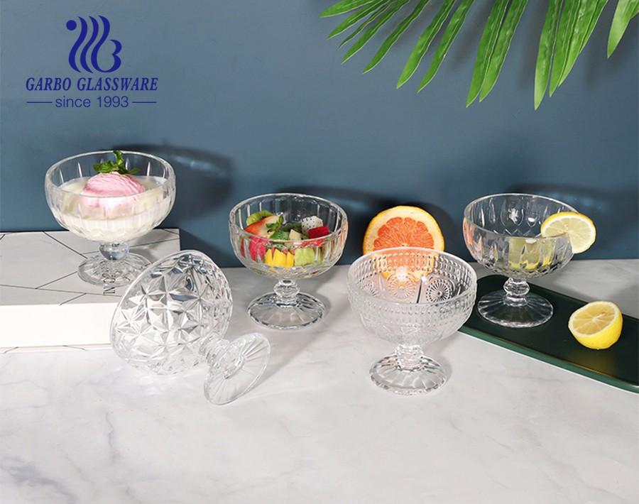 Sun Flower Series Trung Đông Bán chạy Ly kem thủy tinh 8oz Tô tráng miệng thủy tinh