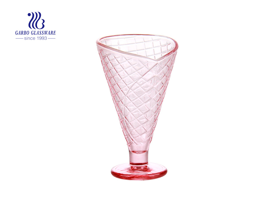 Bánh quế màu hồng Hoa văn khắc 8zo Thủy tinh Kem cốc Thủy tinh Bát tráng miệng Đĩa cốc thủy tinh có chân cho cà phê nước trái cây