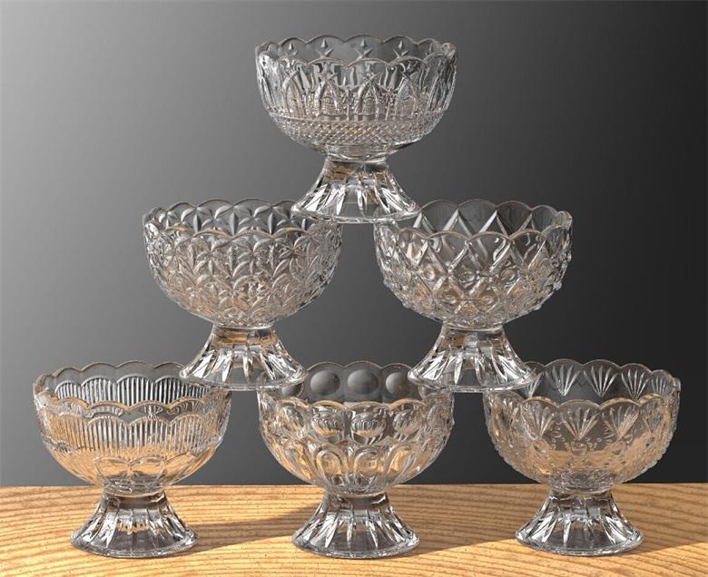 ガルボの新しいデザインのガラスアイスクリームカップ