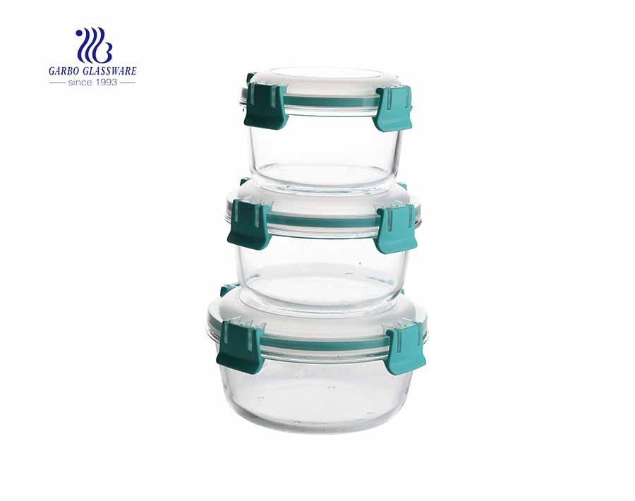 مجموعة من 3 قطع من علب الطعام الزجاجية عالية بيركس مع أغطية سيليكون محكمة الغلق