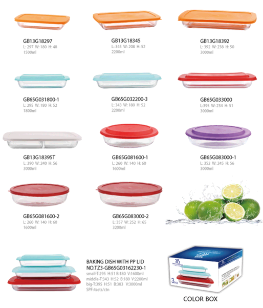 high borosilicate baking tray with pp lid for microwave using