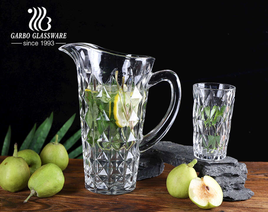 High-white classical rhombus diamond design water drinking jug set glass pitcher set with wide mouth