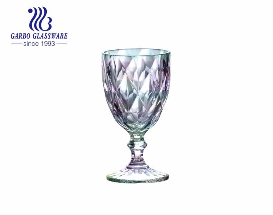Cốc thủy tinh uống rượu mạ ion 300ml với màu sắc cầu vồng cho gia đình và nhà hàng sử dụng
