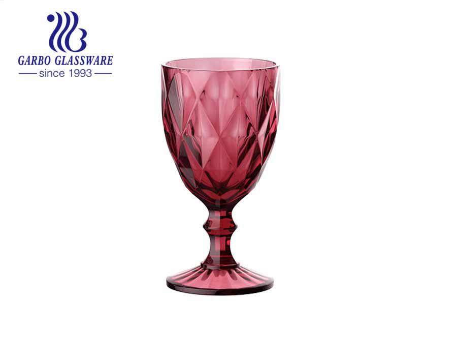 11 أوقية أكواب شرب النبيذ الزجاجيات الملونة عالية الجودة بالجملة للفندق باستخدام