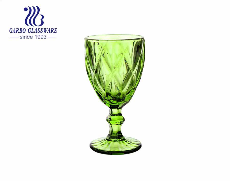 300 مل كؤوس زجاجية ملونة بخاخ أخضر بجودة عالية لشرب النبيذ والعصير