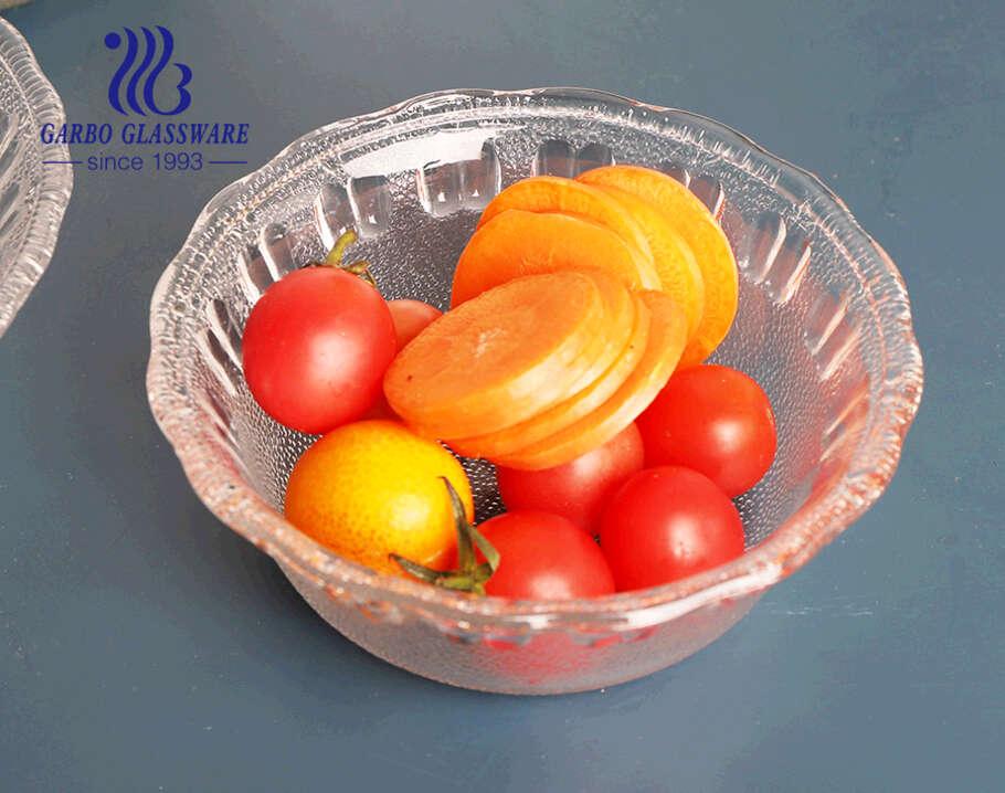 Kích thước lớn giá rẻ phong cách châu Phi nhà máy thủy tinh salad trái cây tô táo với vành mờ màu tùy chỉnh