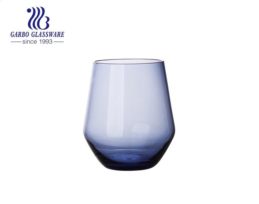 كؤوس زجاجية مصنوعة يدويًا باللون الأزرق الخالص 460 مل لشرب الويسكي والنبيذ