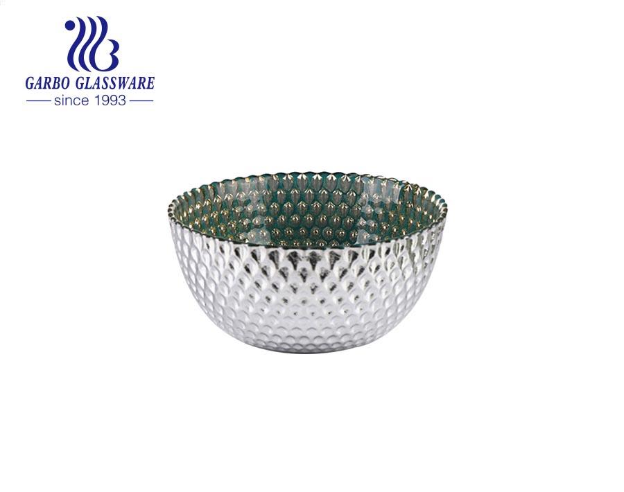 طبق سلطة شوربة زجاجي بلون الزيتون الأخضر الفريد من المصنع مع نمط زخرفي أبيض لطاولة العشاء