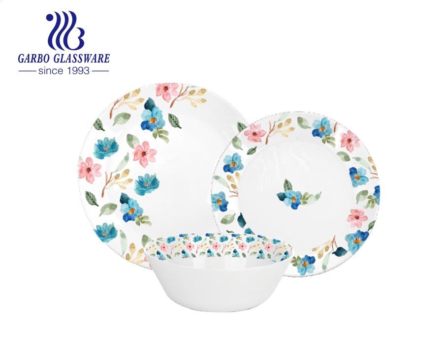 Customizable Dinnerware Sets Tempered Glass Plates Bowl opal ware dinner set