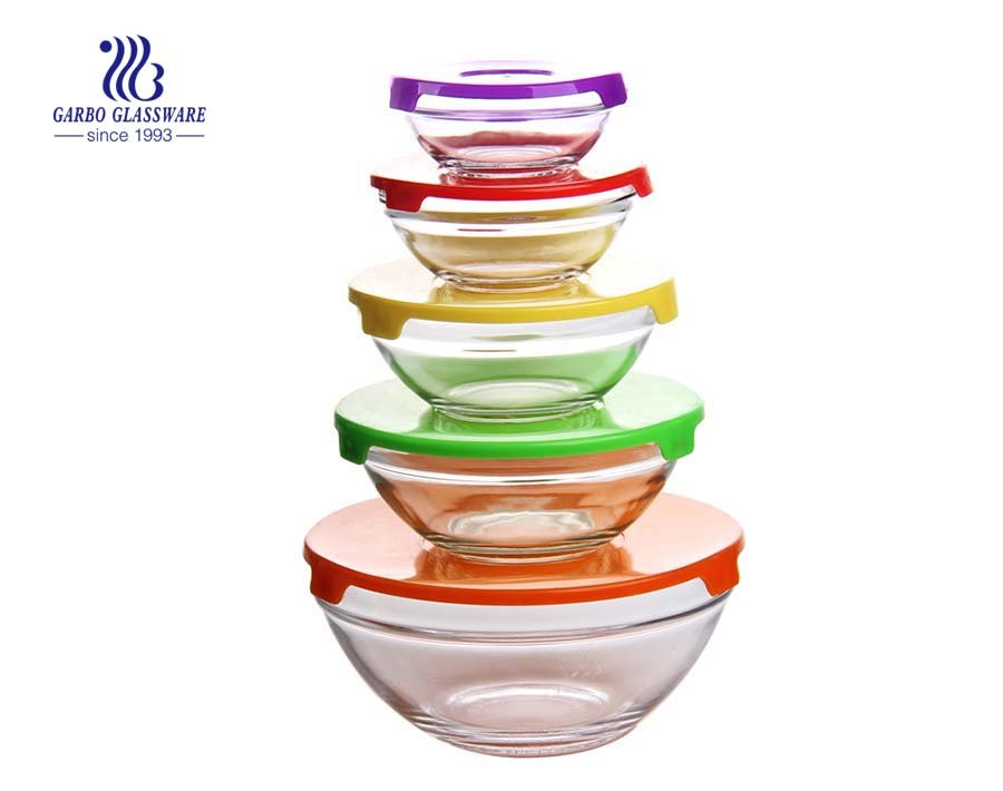 Wholesale cheap price 5pcs glass salad bowl set