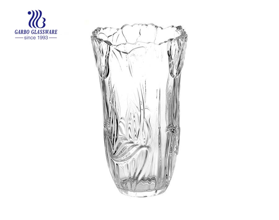 Factory wholesale tulip design glass vase for decor