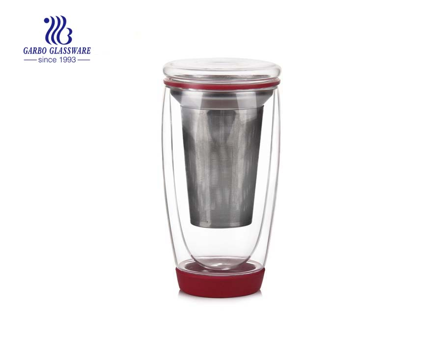China borosilicate double wall cup with infuser suppliers