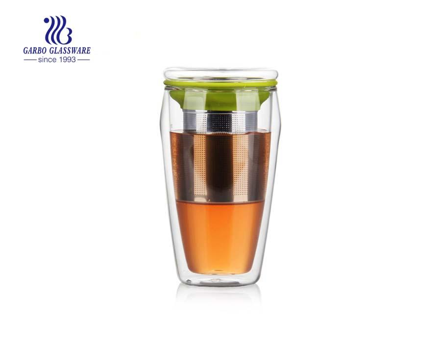 China Borosilikat doppelwandige Tasse mit Infusor Lieferanten
