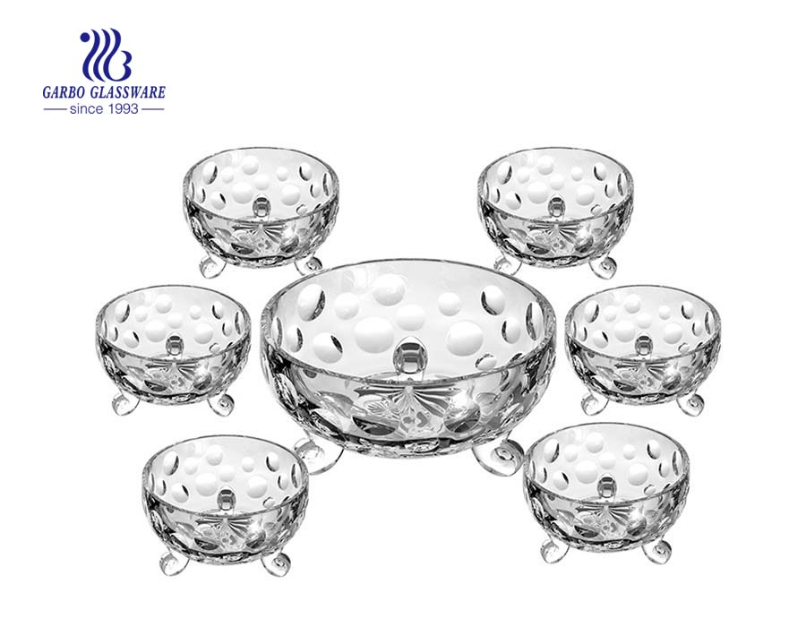 Hot sale decorative 7pcs glass colored Ice-cream bowl set with foot