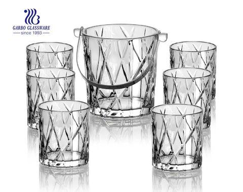 Venda quente garrafa de Vodka balde de gelo de vidro copo de vinho balde com alça de metal para bar