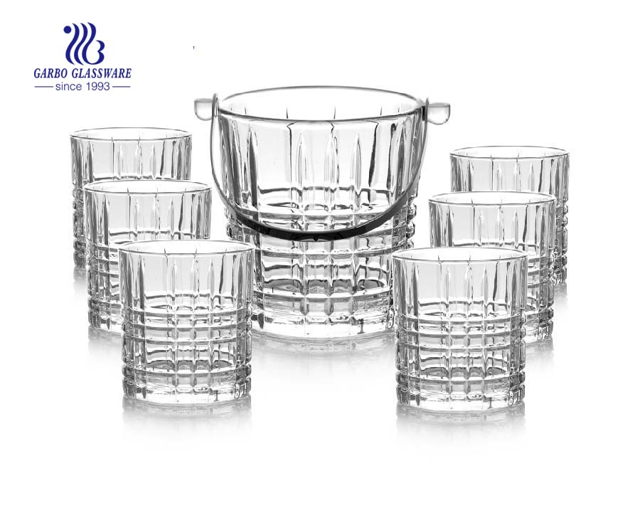 Hot selling Vodka bottle ice pail glass wine ice bucket set with metal handle for bar