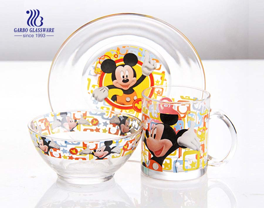 3pcs hot sale customize decal glassware dinner set for souvenir