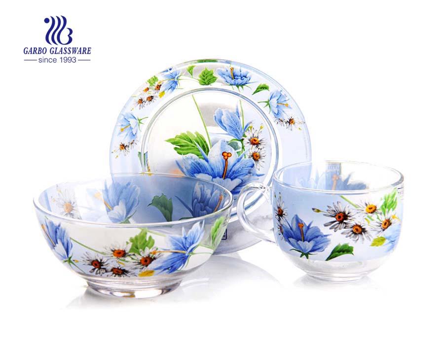 3pcs hot sale customize decal glassware dinner set for souvenir