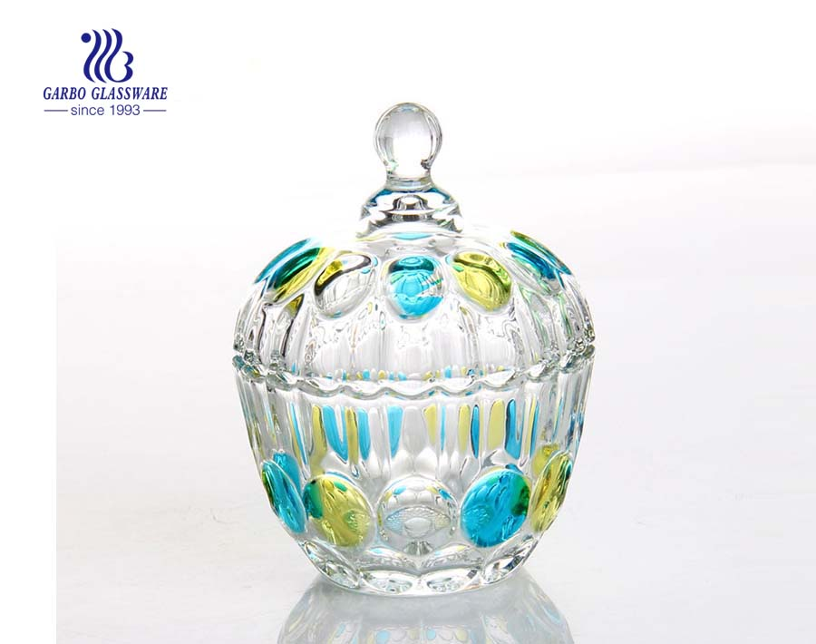 Garbo unique pumpkin shape high quality  glass candy jar with lid