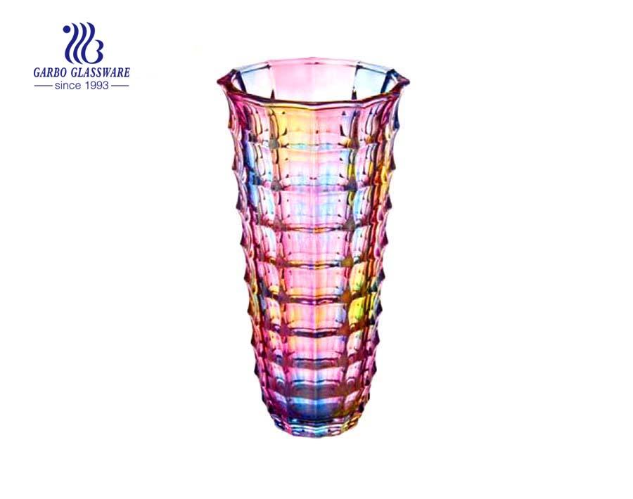 Hot sale fancy spray color glass flower vase for decoration