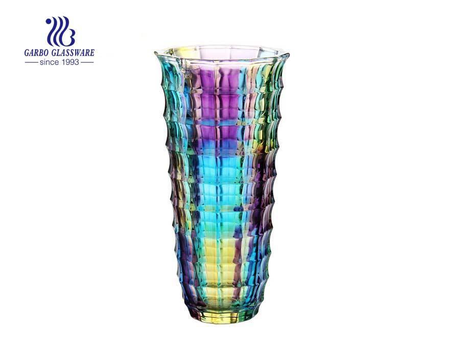 Hot sale fancy spray color glass flower vase for decoration