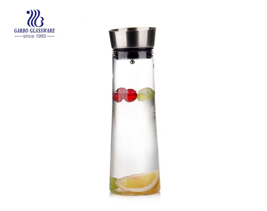 Proveedores de jarra de vidrio de pyrex con tapa de acero inoxidable 304