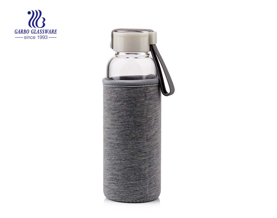 550ml Fabric cover pyrex glass water bottle Made in China