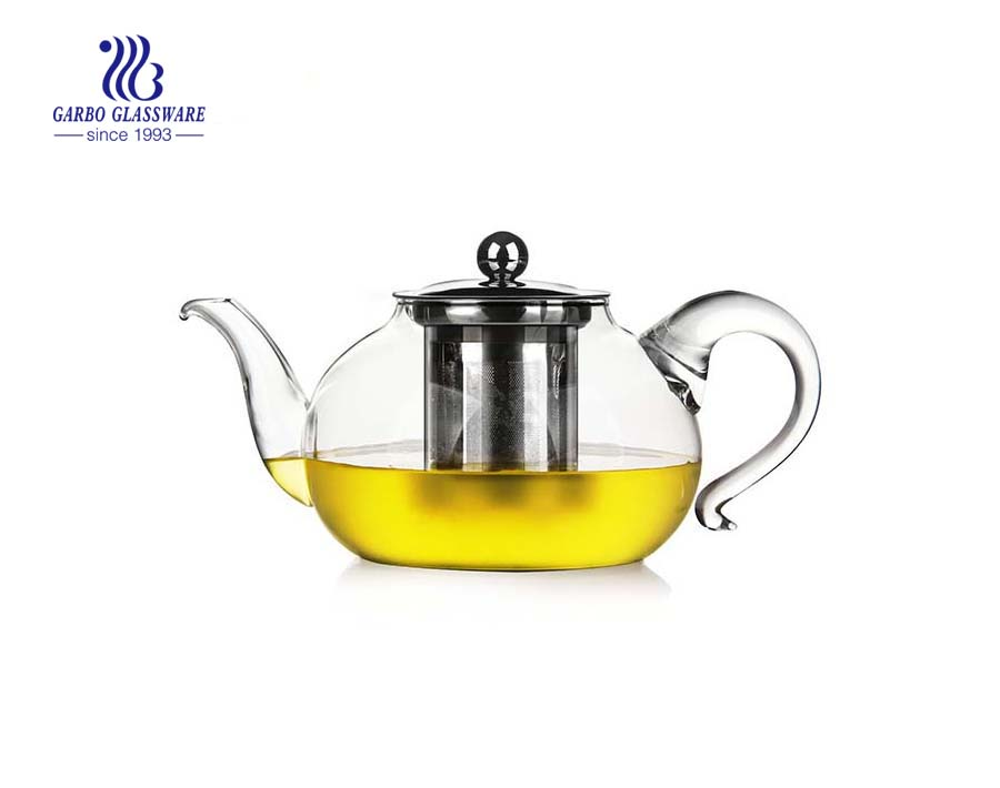 Heat resistant pyrex glass teapot with infuser suppliers