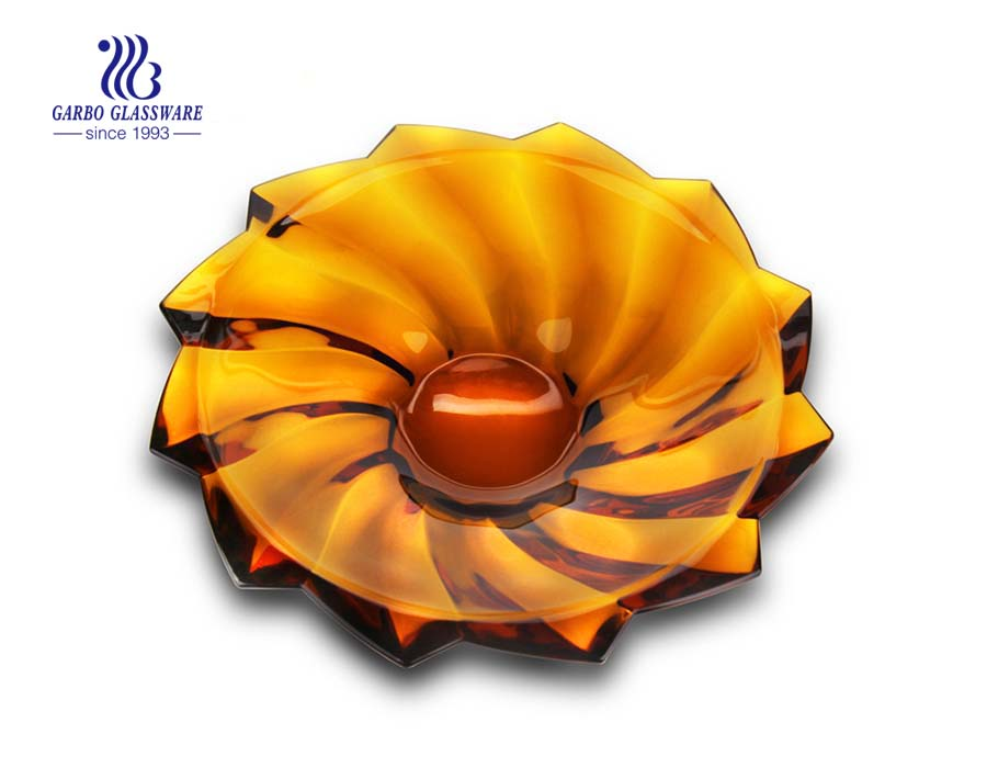15'' Amber Color Glass fruit Plate for party