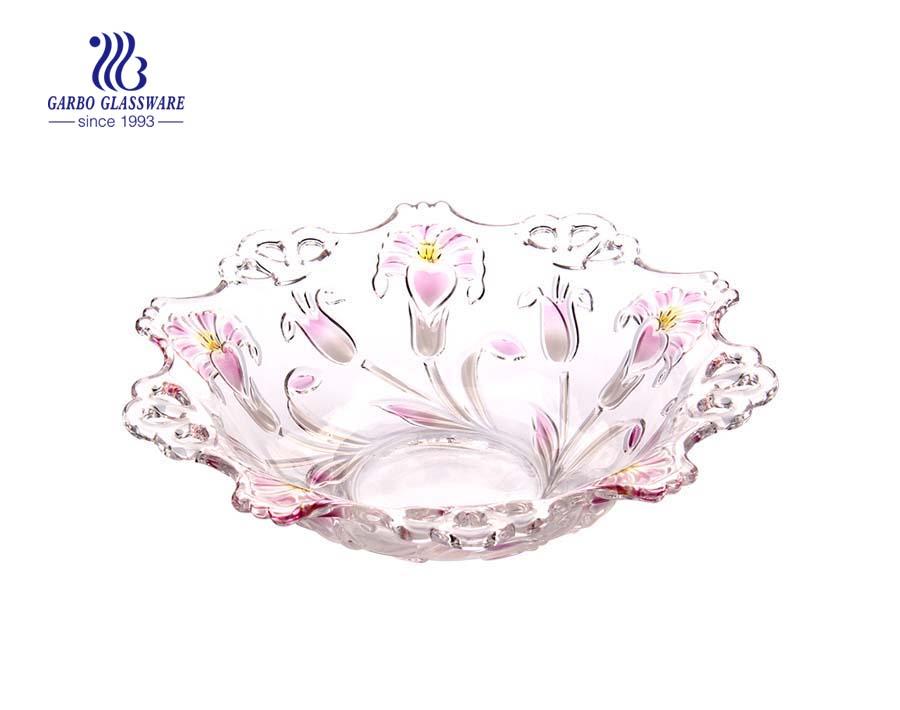 13 '' Taça de frutas de vidro com spray Petúnia design para frutas