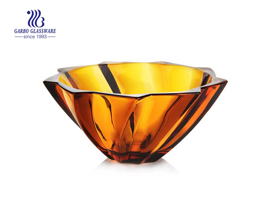 11.8'' Amber Color Glass fruit bowl with spiral design