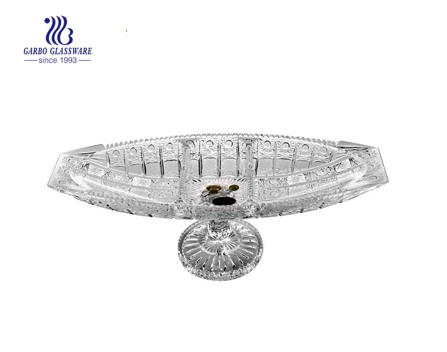 Sunflower Series of Glass Fruit Plate with Stand