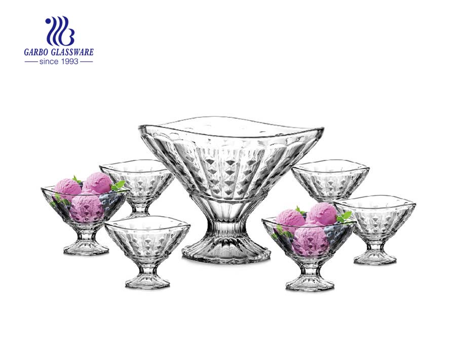 Garbo colored glass round shape 7 PCS salad bowl set