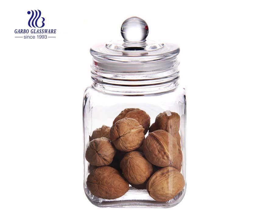 Set mit 4 quadratischen Glasküchen-Aufbewahrungsbehältern mit klarem Deckel Halten Sie Ihre Lebensmittel frisch und organisiert in der Speisekammer