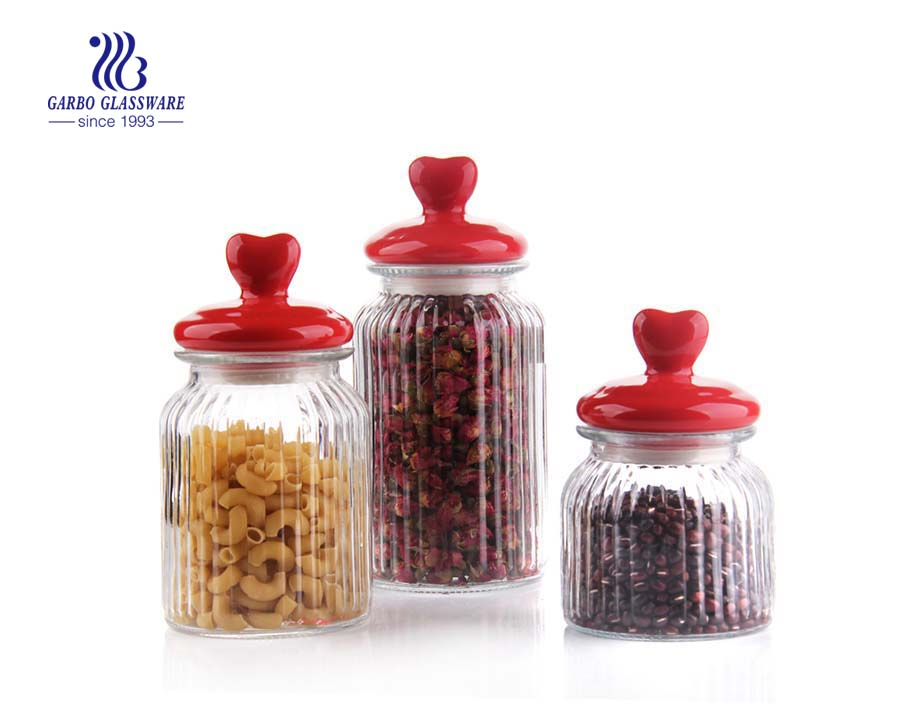 1300ml Clear Glass Food storage jar cookie jar with ceramics Cap