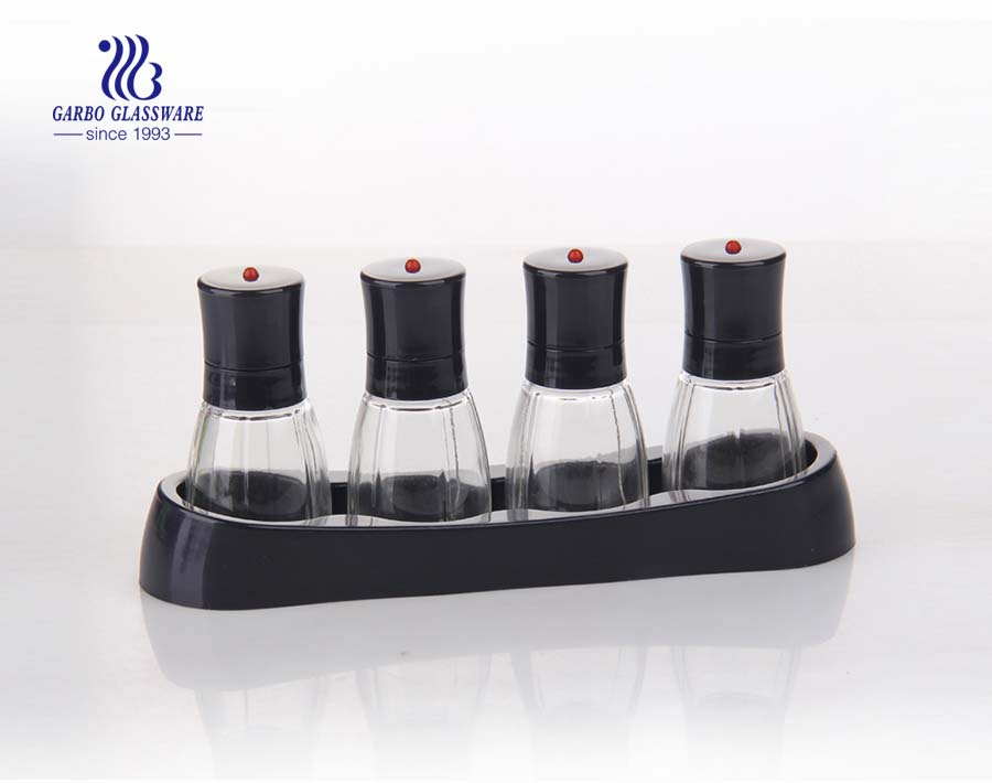 2/3/4/5/7pcs Transparent Salt and Pepper Cruet Set Glass Spice Bottle with Stainless Steel Caps