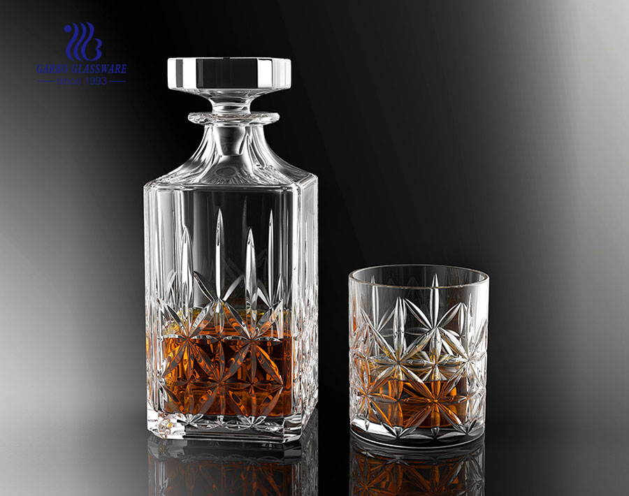 China Factory Glass Square Decanter Sets with Same Cup  GB12024LXD