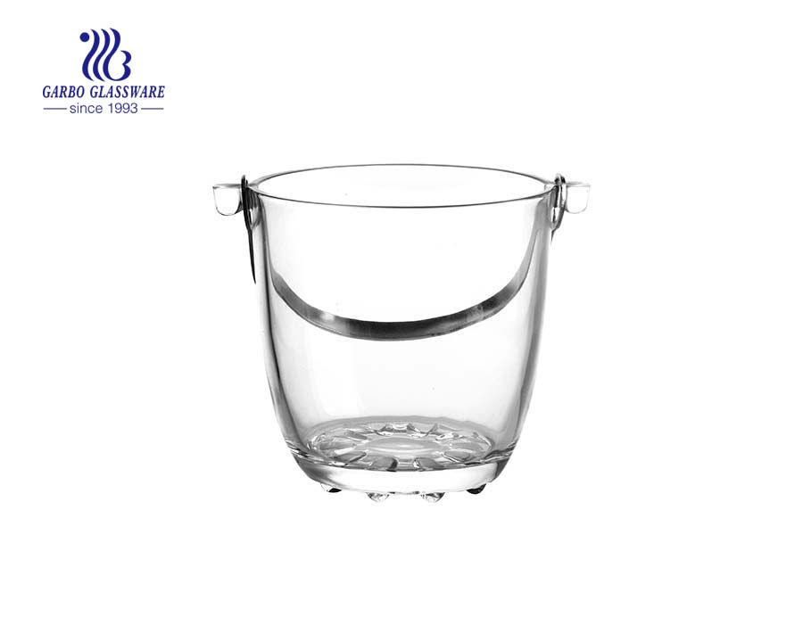 China factory 1000ml glass ice bucket with diamond design