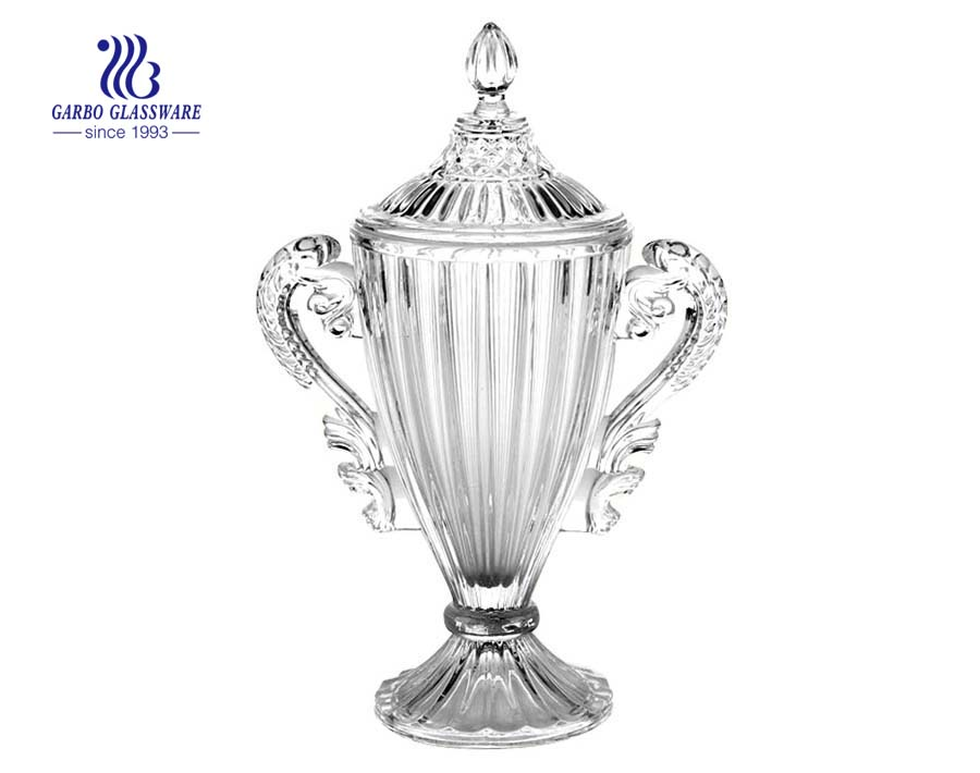 champion cup shape glass candy jar