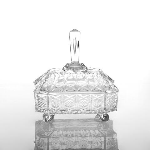 Sqaure Elegant Glass Candy Pot