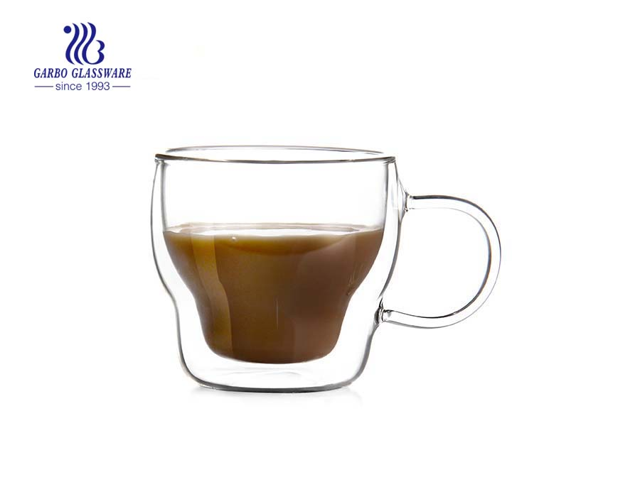 Kundenspezifische 11oz Borosilikat doppelwandige Tasse zum Teetrinken