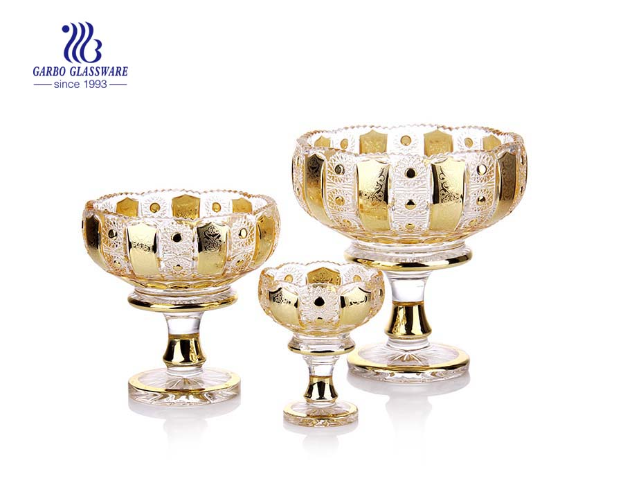 Decorative 3pcs gold plated glass fruit bowl set